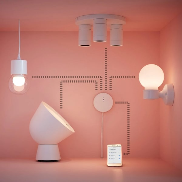 IKEA Smart products connected via smartphone application.