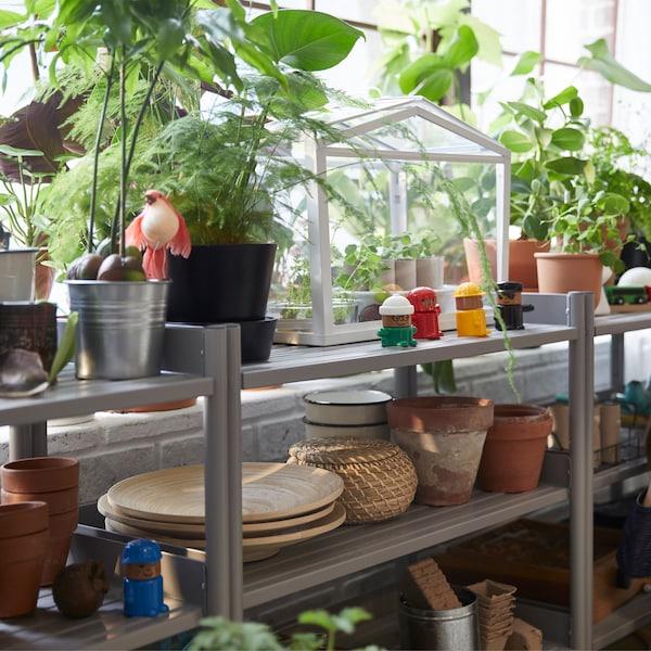 IKEA SOCKER staklenik na polici ukrašenoj mnogim saksijskim biljkama.