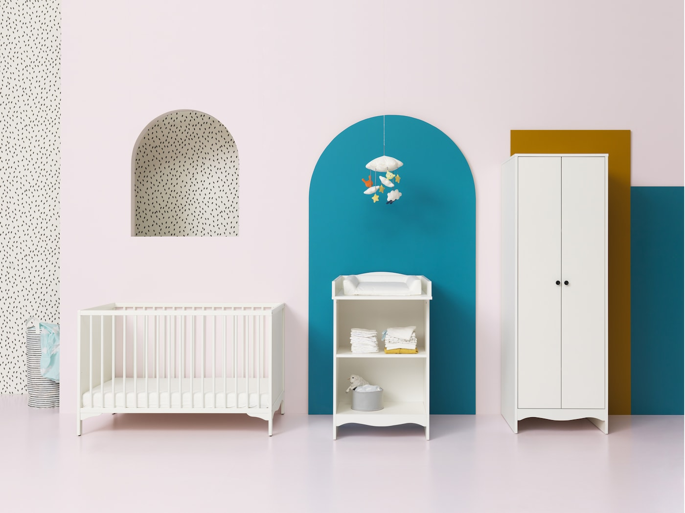IKEA SOLGUL white cot, changing table and wardrobe were designed with focus on safety, comfort and non-toxic materials.