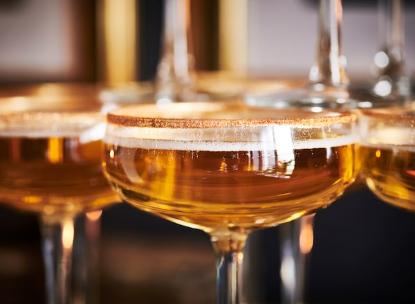 IKEA STORHET champagne coupes can be adorned with edible gold for a super luxurious look.