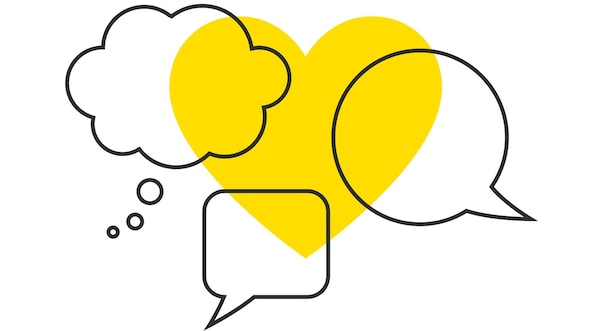 IKEA symbol with three conversation bubbles overlaid on a yellow heart.