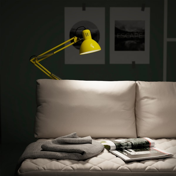 IKEA TERTIAL steel portable work lamp comes with an adjustable head and arm. It easily unscrews from flat surfaces so you can place it on your sofa rail, desk, or anywhere around the home.