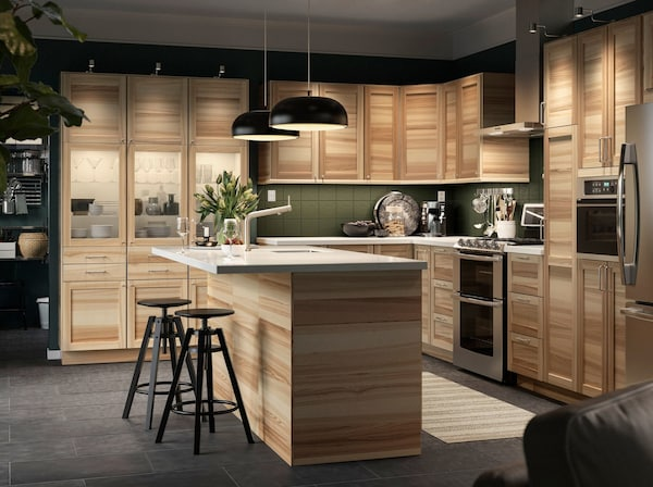 IKEA TORNHAMN door fronts with SEKTION kitchen cabinets in a large open plan kitchen.