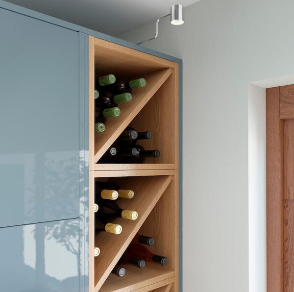 IKEA VADHOLMA brown ash veneer open storage units be used as a wine rack.