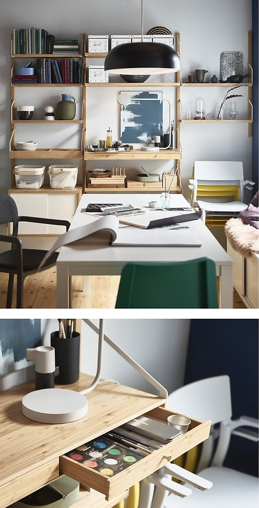 IKEA VANGSTA extendable table and SVALNÄS shelves make a great pair for home organisation. Customise the shelves to fit your needs and have easy access to essential items.