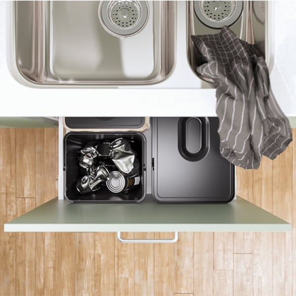 IKEA VARIERA/UTRUSTA black waste sorting for cabinet has a frame that keeps the waste bins firmly in position.