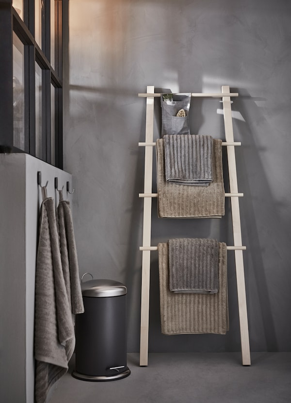 IKEA VILTO light birch towel stand has four levels to hang towels, clothes or even a basket organiser to keep your hairbrush and smaller toiletries.