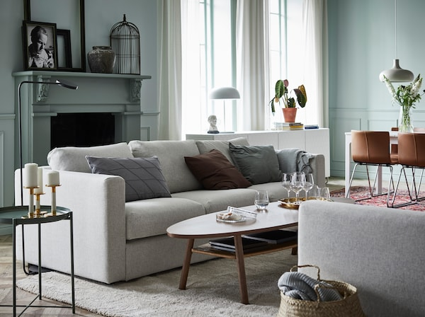IKEA VIMLE light grey 3-seat sofa in an open living space.