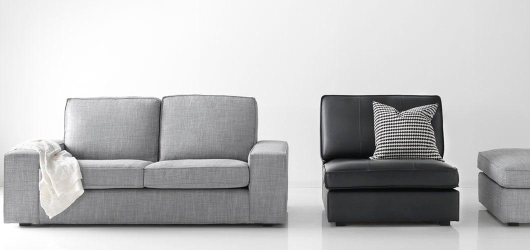 IKEA Wohnzimmer KIVIK Serie, Leder Sofa, Grau, Schwarz