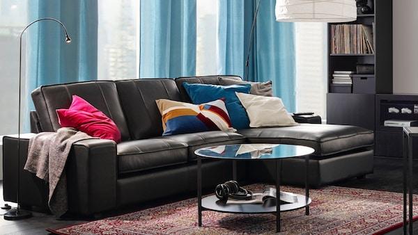 IKEA Wohnzimmer KIVIK Serie, Leder Sofa schwarz