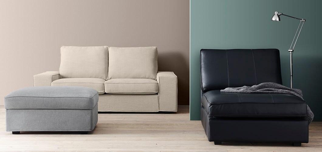IKEA Wohnzimmer KIVIK Serie, Sofa, Beige, Grau, Schwarz