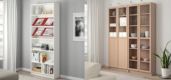 IKEA Wohnzimmer Serie, BILLY Serie, Bücherregal, grau
