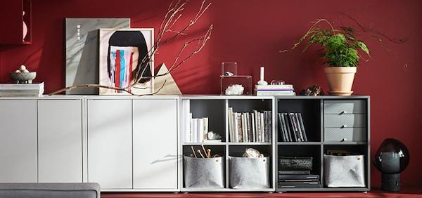 IKEA Wohnzimmer Serie, EKET Serie, Schrank, Kommode, weiß, blau, grau, orange
