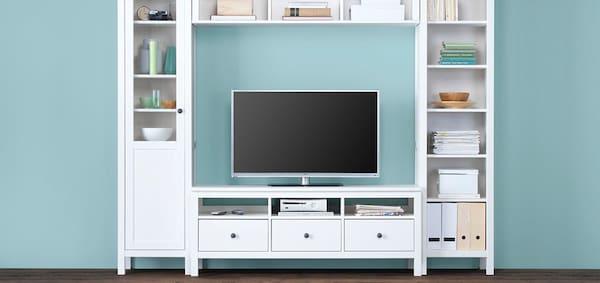 IKEA Wohnzimmer Serie, HEMNES Wohnzimmerserie, Vitrine, Bücherregal, Kommode, weiß