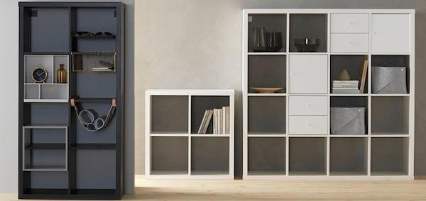 IKEA Wohnzimmer Serie, KALLAX Serie, Regal mit Einsätzen, weiß, schwarz