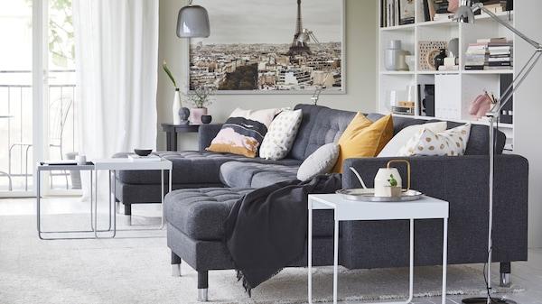 IKEA Wohnzimmer Serie, LANDSKRONA Serie, 3er-Sofa, schwarz