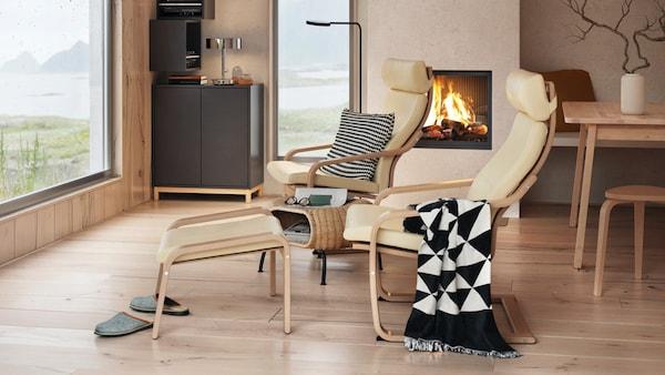 IKEA Wohnzimmer Serie, POÄNG Serie, Sessel und Hocker, beige