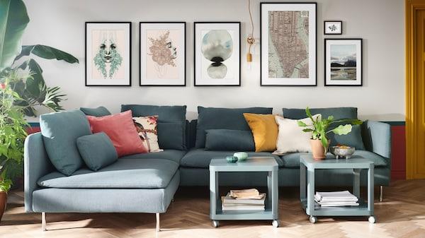IKEA Wohnzimmer Serie, SÖDERHAMN Serie, 2er-Sofa mit Hocker, türkis