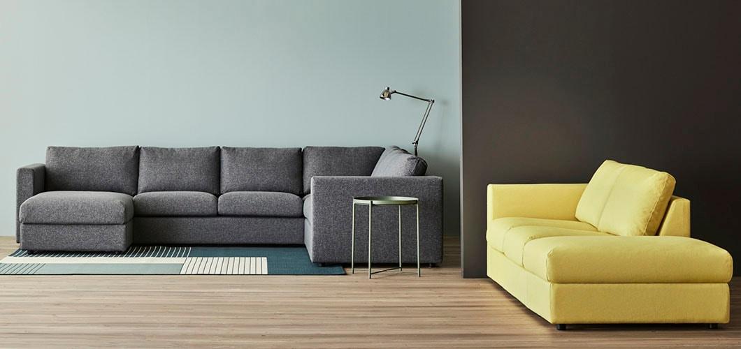 IKEA Wohnzimmer VIMLE Sofa, Grau, Gelb
