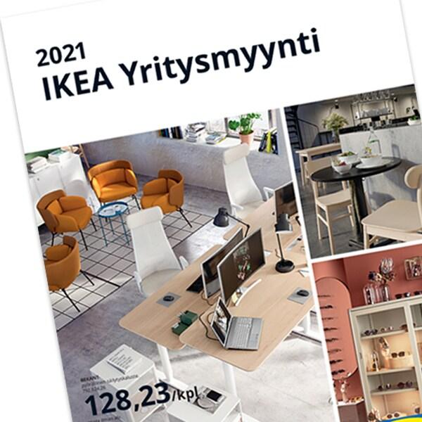 IKEA Yritysmyynnin kuvasto vuodelta 2021. Kannen kuvissa toimistokalusteita.