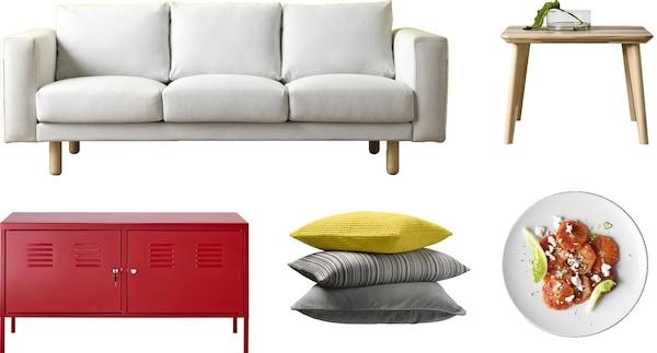 イケアのデザインの原則を表す5つの異なるイケア製品(ソファ、テーブル、ロッカー、クッション、食品)の写真。