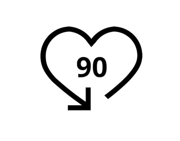 Ikon med tallet 90.