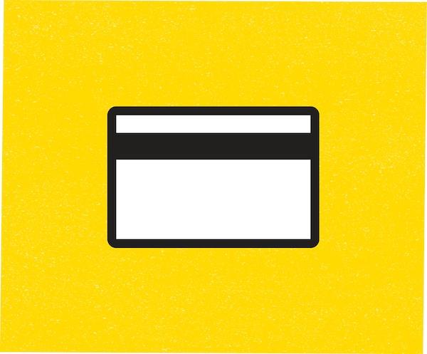 Ikona kreditní karty na žlutém podkladu.