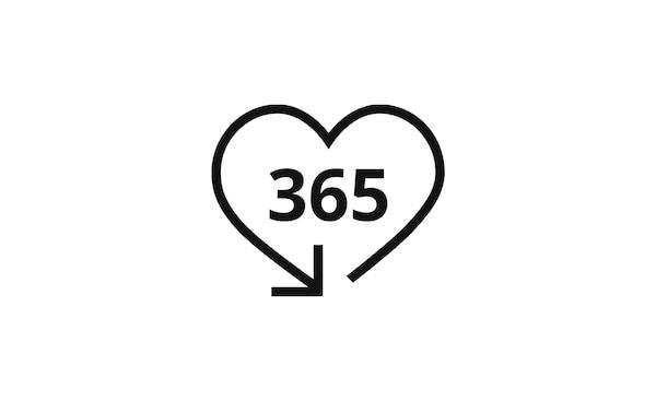 Ikona srdce zakončeného šipkou, uvnitř se nachází číslice 365 - zákazník má 356 dní na vrácení zboží IKEA.