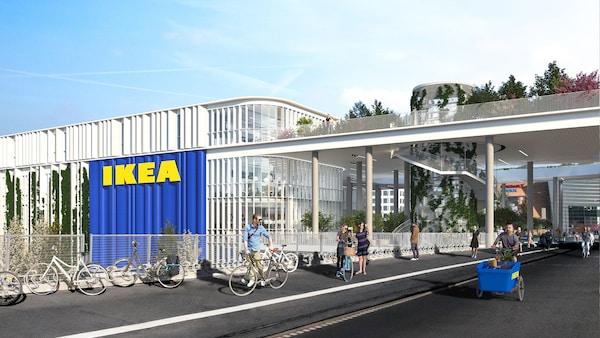 Illustration af IKEA København ved Dybbølsbro, hvor der kommer cykelister og gående forbi