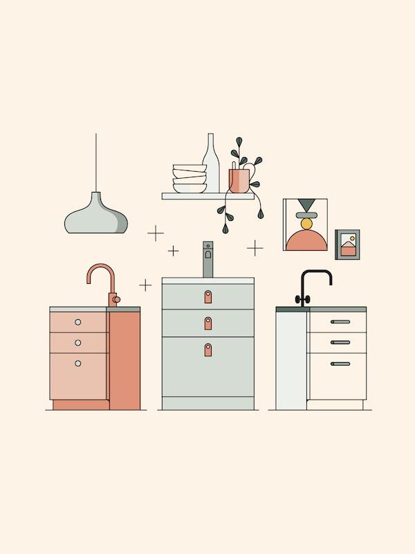 Illustration av tre olika köksskåp med blandare, lampa, tavelramar och vägghylla med staplat porslin.