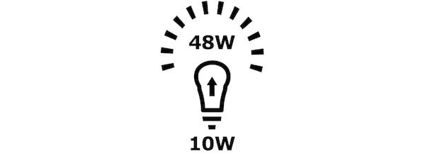 Illustration of a light bulb power consumption