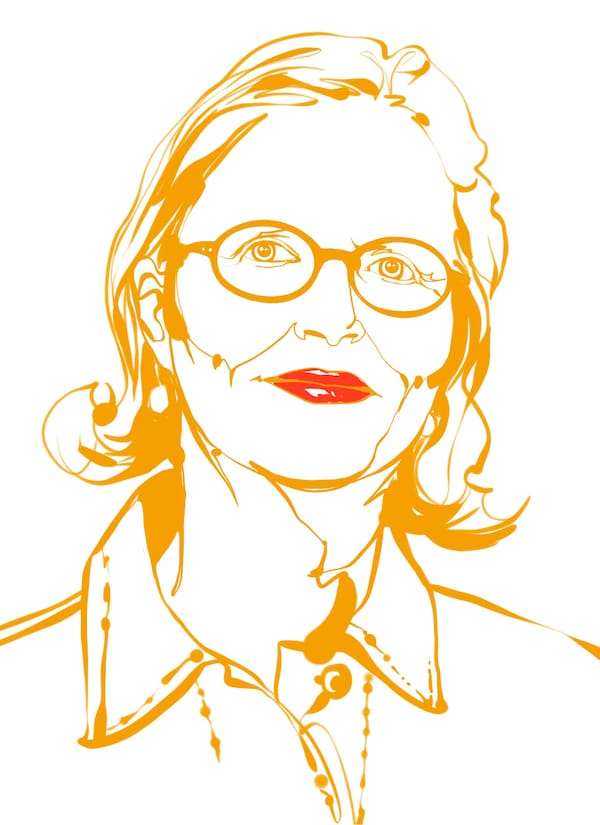 Illustration of a woman. Hair to her neck, glasses, hint of a smile. Most of the sketch done in gold, mouth in lipstick red.