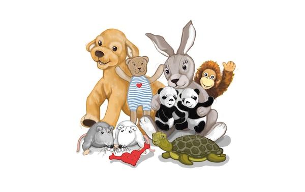Illustrazione di alcuni animali di peluche - IKEA