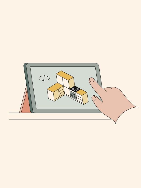 Illusztráció egy kézről, amint egy konyhatervező eszközt használ egy tableten.