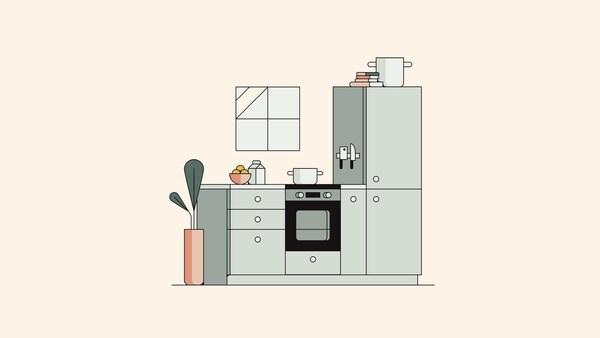 Illusztráció egy zöld konyháról, fehér fogantyúkkal és pulttal, egy bézs fal előtt, amin kis ablak van.