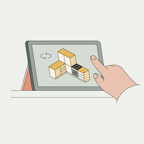 Illusztráció, melyen egy kéz egy tableten megnyitott konyhatervezőt használ.