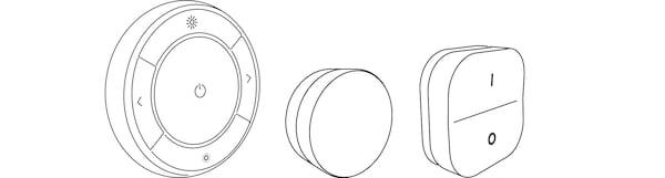 Ilustração de três comandos IKEA Home smart.