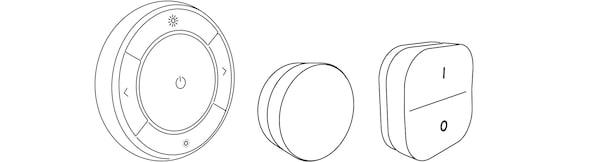 Ilustrace tří ovládacích prvků IKEA Home smart.