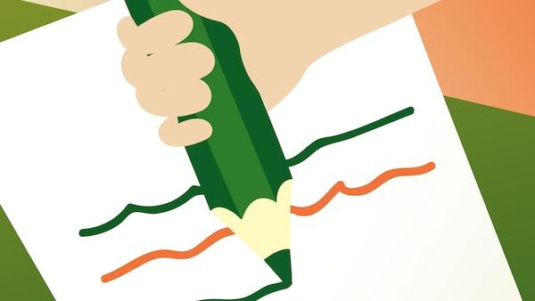 Ilustrace znázorňující papír a zelenou pastelku.