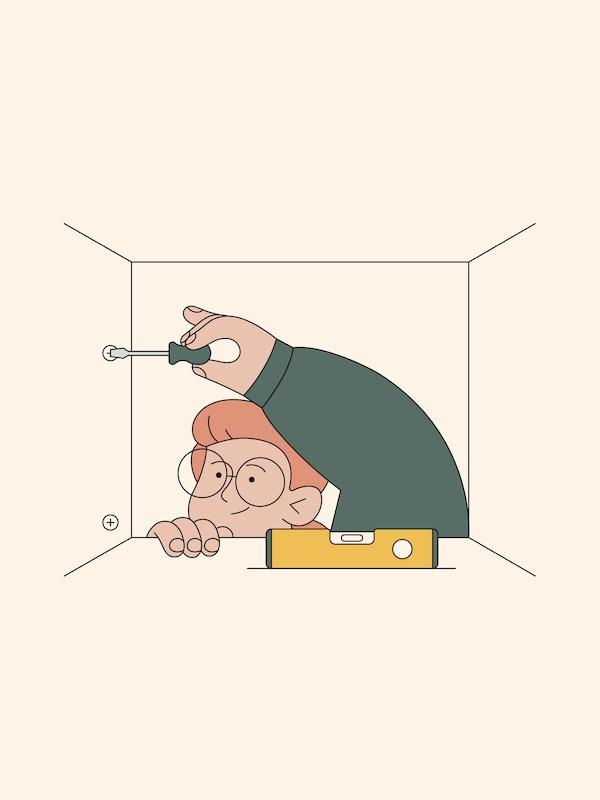 Ilustrácia muža v okuliaroch, ktorý skladá skrinku pomocou skrutkovača s vodováhou na polici.