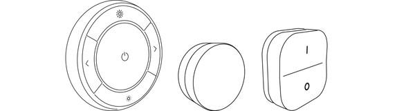 Ilustrácia troch rôznych diaľkových ovládačov inteligentného osvetlenia TRÅDFRI.
