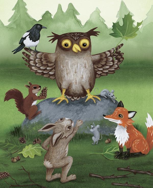 Ilustracija iz dečje knjige o sovi.