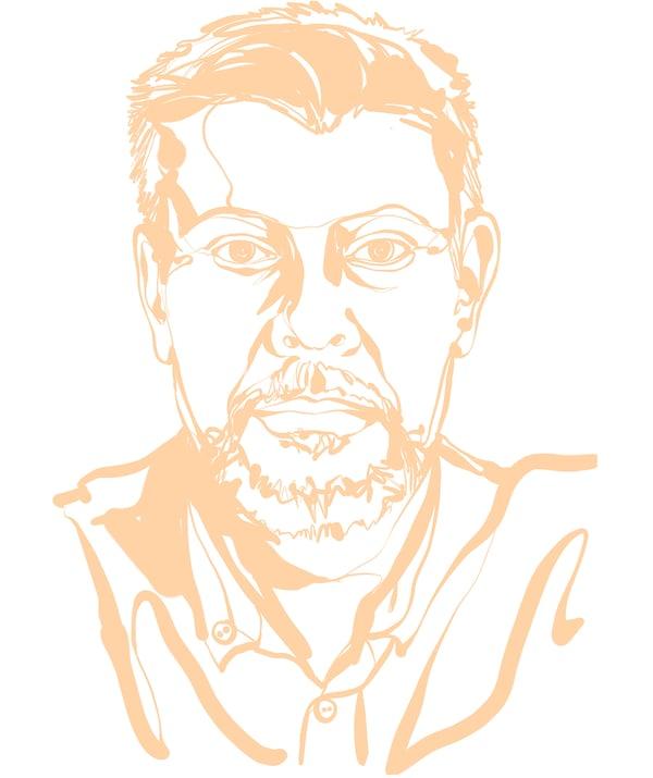 Ilustracija lica Ulfa Johanssona, menadžera za šumarstvo i drvne resurse u IKEA Global: nagoveštaj osmeha, kratka kosa.