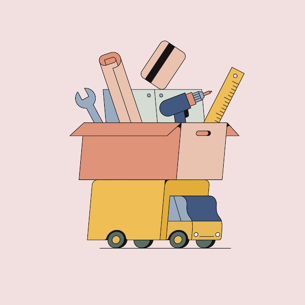Ilustracja przedstawiająca żółtą furgonetkę, na której stoi pudło pełne narzędzi, takich jak wiertarka, linijka i klucz.