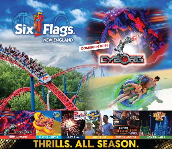 image of a roller coaster and other rides at six flags