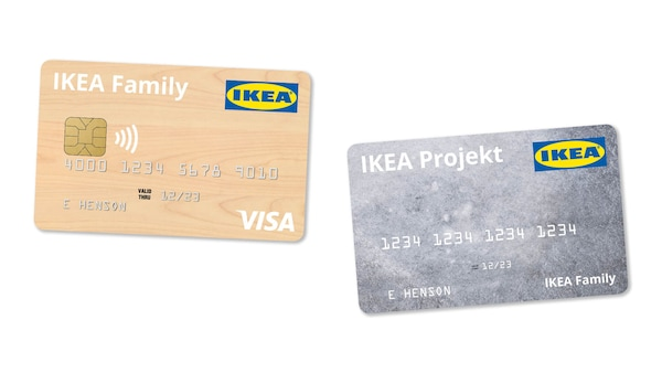 Image of an IKEA Projekt credit card and an IKEA Family credit card.