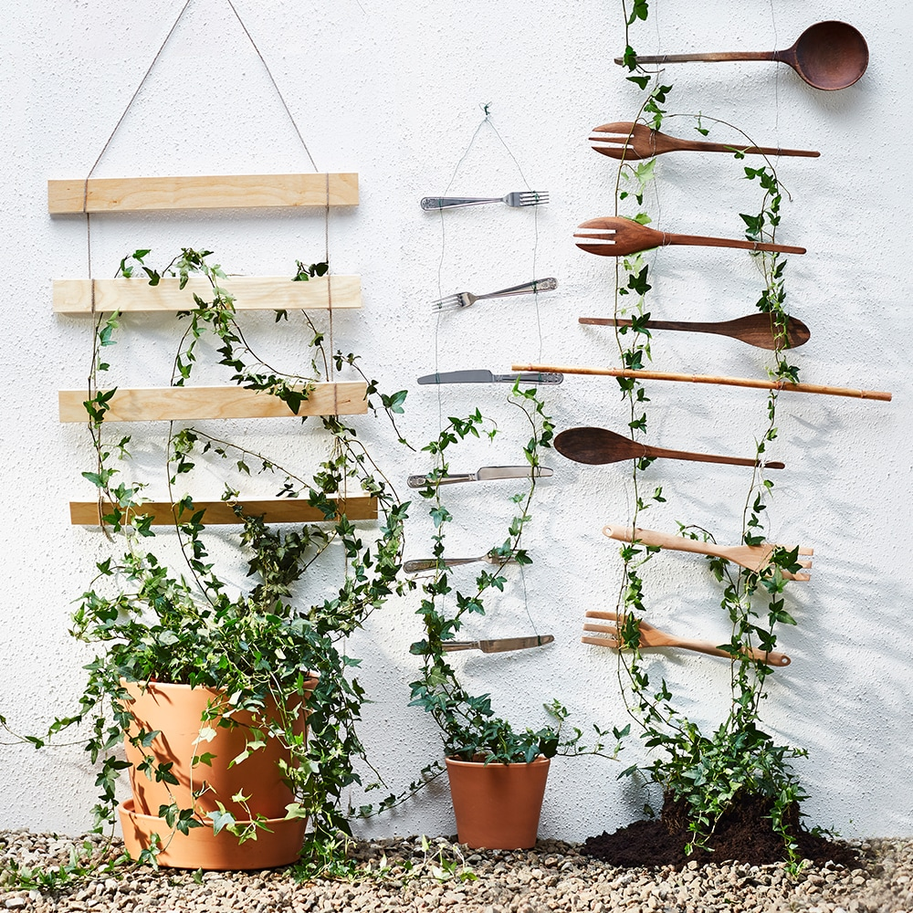 Image of trellis made from metal and wooden cutlery