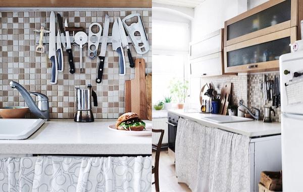 Imágenes juntas de una cocina pequeña. Tejido colgado bajo la encimera y utensilios en un riel magnético.