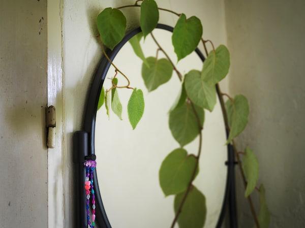 În prim plan, oglinda rotundă a corpului cu oglindă KORNSJÖ, negru, și creanga unei plante agățătoare într-o parte a acestuia.