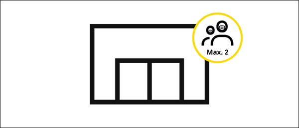 In-store shopping icon, along with a symbol indicating that a face mask is mandatory in an IKEA store and two people maximum are allowed per shopping group.